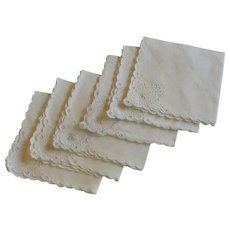 Set of 6 White Luncheon Napkins