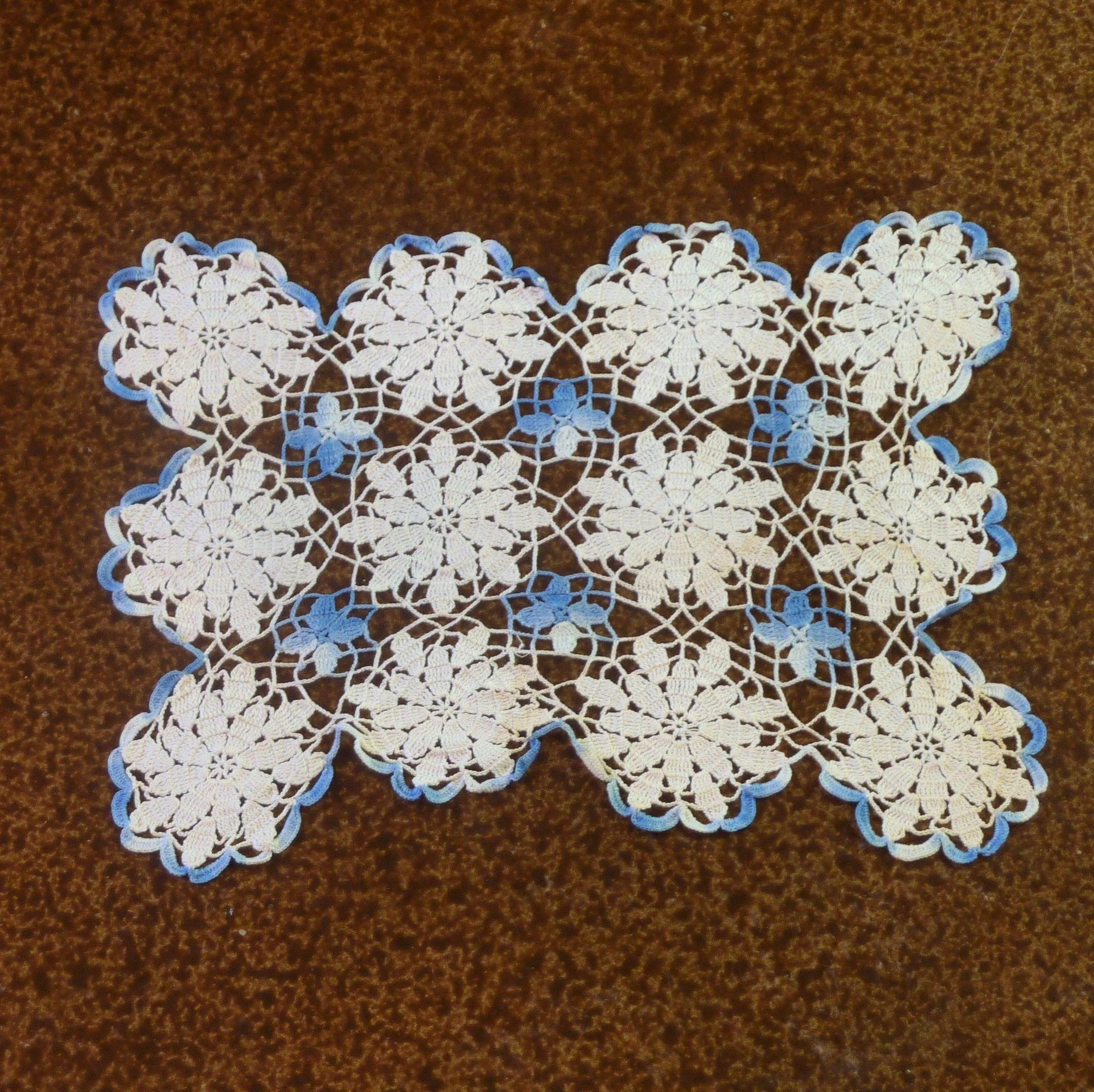 Rectangle Blue and white crocheted Doily : Rare Finds   Ruby Lane