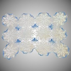 Rectangle Blue and white crocheted Doily