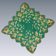 Autumn Leaves Scalloped Green Handkerchief