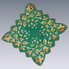 Autumn Leaves Scalloped Green Handkerchief