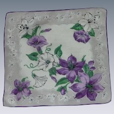Purple and White Morning Glory  and Lilies Handkerchief