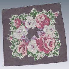 Red Pink and White Roses on Mauve Handkerchief