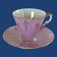 Pink Mauve Lusterware Gold Trim Tea Cup and Saucer