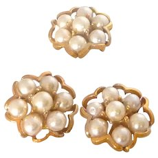Faux Pearl Six Petal Gold Tone Sewing Buttons