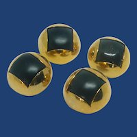 4 Black and Gold Tone Domed Coat Buttons