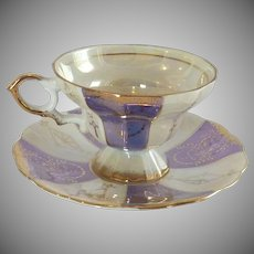 Purple and White Lusterware Gold Trim Tea Cup and Saucer