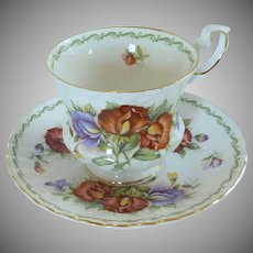 Rosina China Co. Queen Porcelain Scalloped Teacup and Saucer