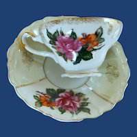 Vintage China Rose Gold Trimmed Porcelain Tea cup / Saucer