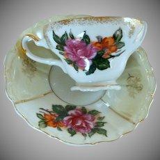 Vintage China Rose Gold Trimmed Porcelain Tea cup / Saucer