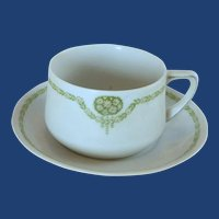 Weimar China White Tea  Cup and Saucer  Green Leaves and Daisies