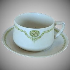 Weimar China White Tea  Cup and Saucer  / Daisy Floral