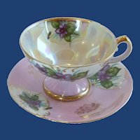 Pink with Violets Lusterware Gold Trim Tea Cup and Saucer