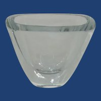 Modern Heavy Small Glass Clear Blue Signed Vase