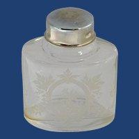 Vanity Floral Etched Decal Glass Jar Bottle
