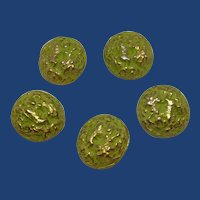 Gold Domed Textured Washed Pea Green Buttons