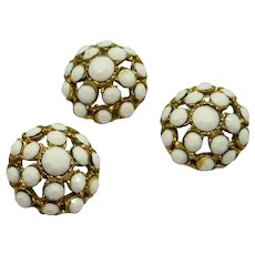 """Gold Tone White Faceted Glass ¾"""" Sewing Buttons"""