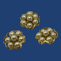 "Gold Tone White Faux Pearl 1"" Sewing Buttons"