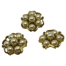 """Gold Tone White Faux Pearl 1"""" Sewing Buttons"""