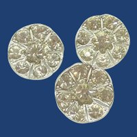 "3 Clear Rhinestone Silver Tone Crystal 1"" Buttons"