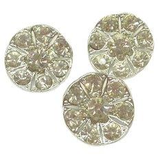 "3 Clear Rhinestone Silver Tone Crystal 1"" Buttons"