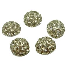 """5 Dome Diamond Crystal Rhinestone 1"""" Sewing Buttons"""