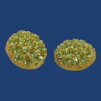 "2 Light Green Rhinestone ¾"" Sewing Buttons"