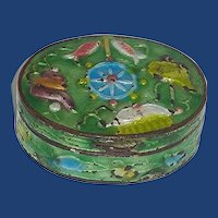 Brass Enameled Lidded Trinket Box CHINA