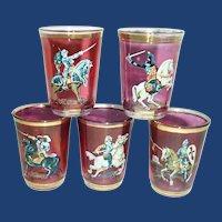 Gladiator on Horseback Cranberry Red Shot Glasses
