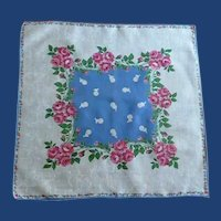 Lovely White on White Dancer Red Roses Handkerchief