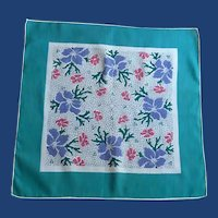 Purple and Pink flowers with Teal Green Border Handkerchief