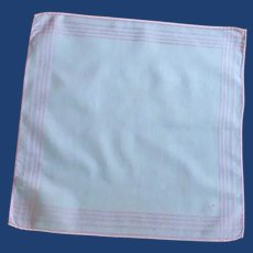 White with Pink Striped Border Handkerchief