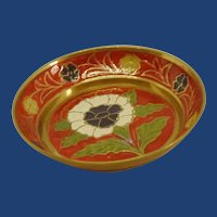 Small Red Enamel Brass Shallow Bowl