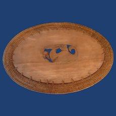 Teak Wood with Woven Rattan Border Heat Pad Trivet