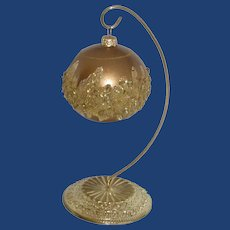 Gold Tone Nugget Glass Christmas Ball and Stand