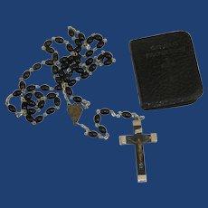 1943 Black Beads Rosary and Catholic Prayer Book