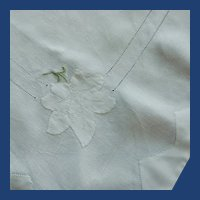 White Linen Applique Flower and Edge Tablecloth