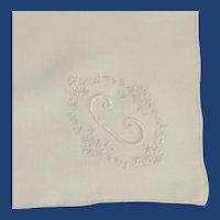 "Small White Cotton Initial ""C"" Handkerchief"