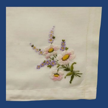 White Cotton Handkerchief with Embroidered Flowers