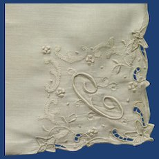 "Small White Cotton Initial ""C"" Handkerchief"