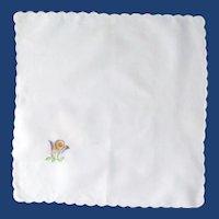White Scalloped Edge Cotton Handkerchief with Flower