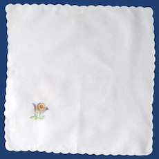 White Scalloped Edge Cotton Handkerchief with Flower