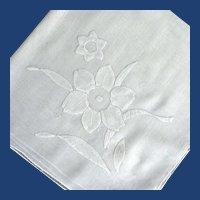 White on White Appliqued Flower Handkerchief