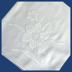 White on White Appliqued Flower Handkerchief
