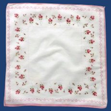 Pink Bordered White Handkerchief with Rose Buds