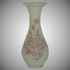 Small Hand Blown and Painted White Glass Vase