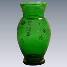 Hand Painted Mid Century Green Glass Vase