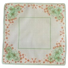 Cotton 1930s Green Flowers on White Handkerchief Hanky