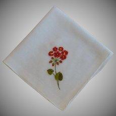 Red Orange Poppies on White Linen Hankie Handkerchief