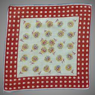 Red and White Check  Border Flower Handkerchief